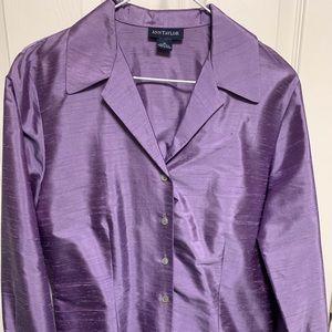 Ann Taylor Purple silk blouse size 10